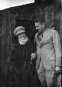 Elizabeth McCort Tabor stands beside a man in front of her cabin next to the Matchless Mine in Leadville.