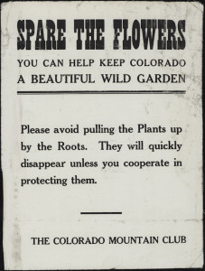 This poster, circulated by the Colorado Mountain Club, urges people to refrain from pulling flowers up by their roots.