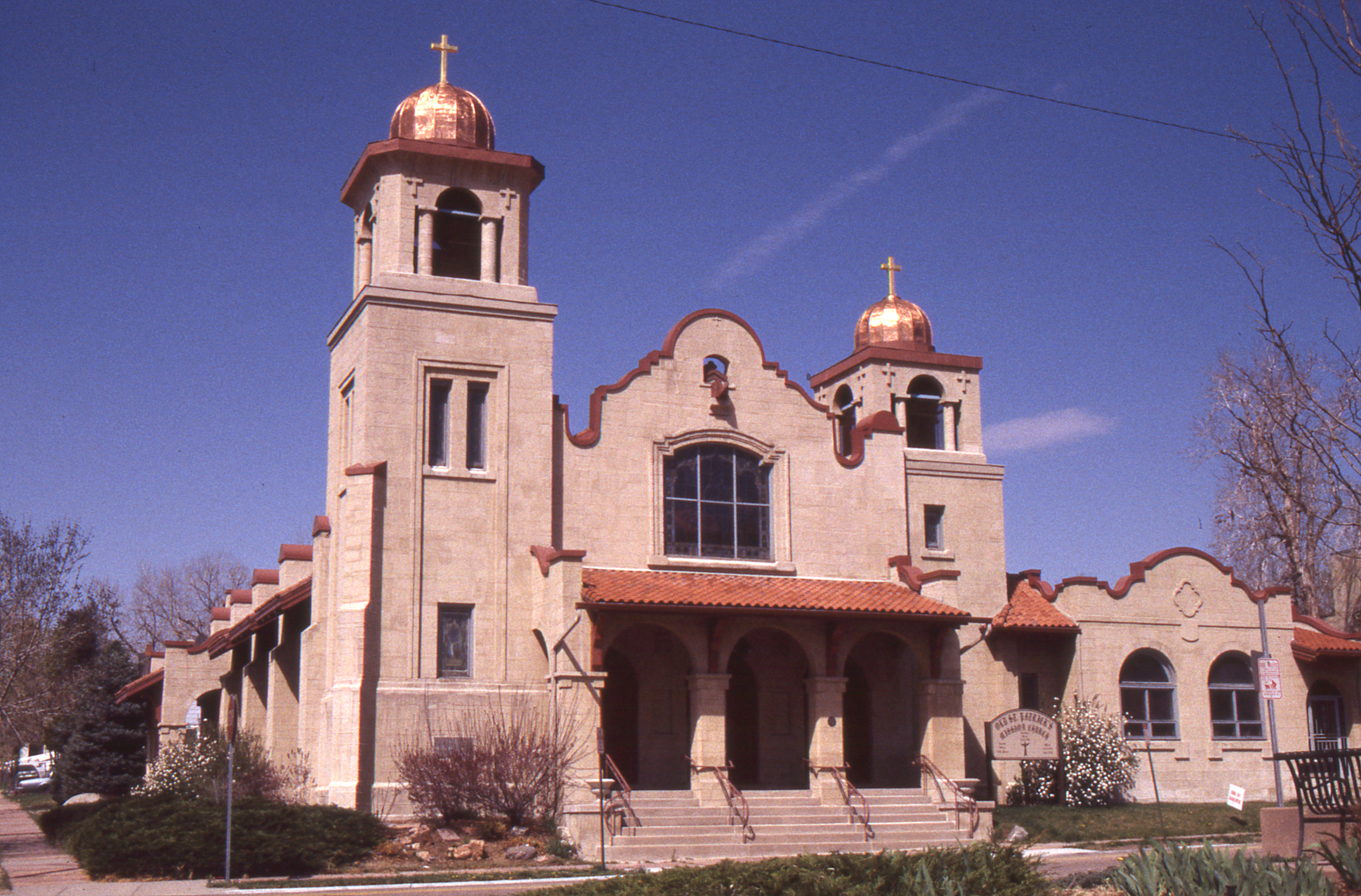 Color photograph of St. Patrick's Mission Church in northwest Denver.