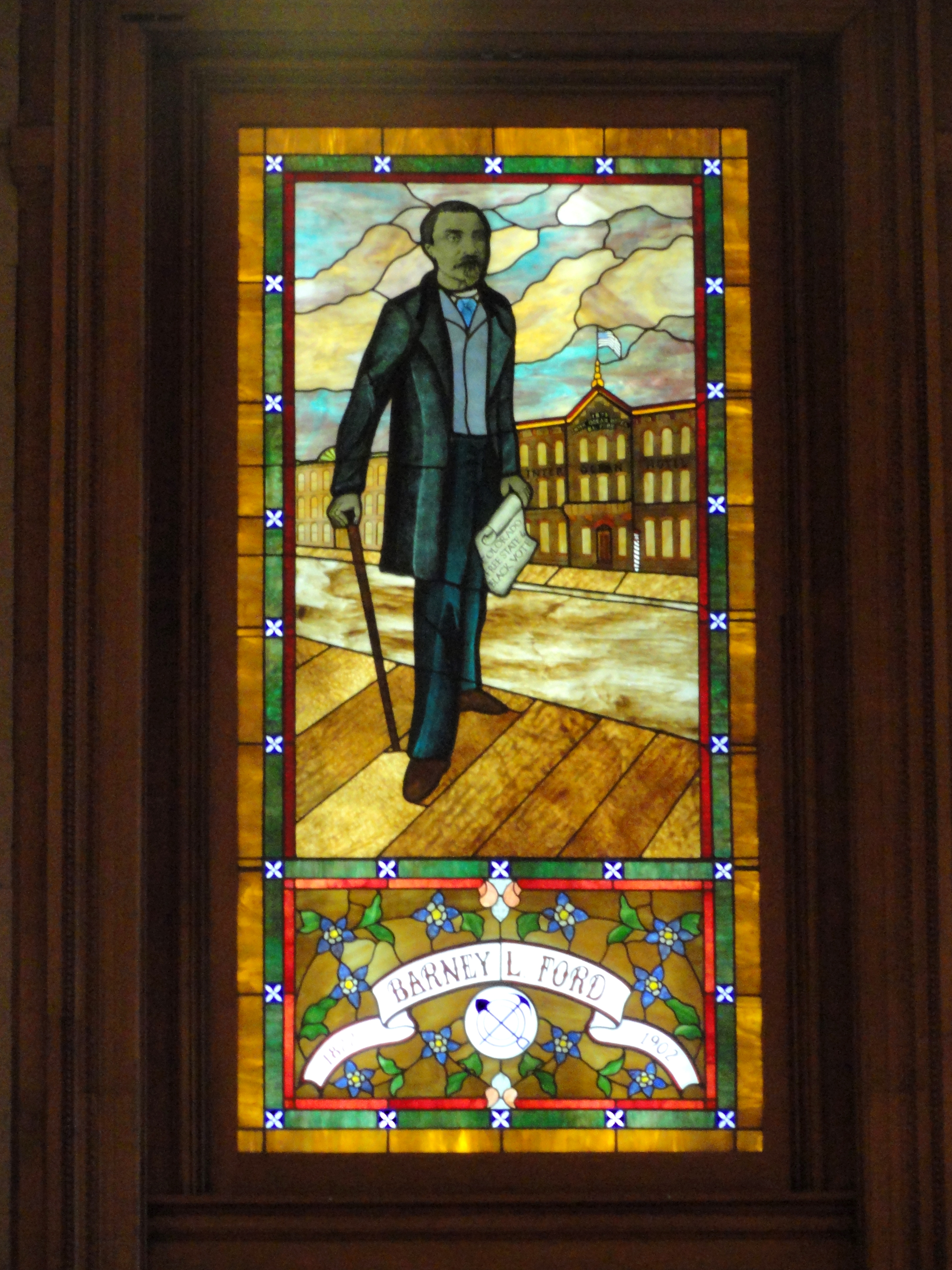 Stained glass window of Barney L. Ford at the Colorado State Capitol
