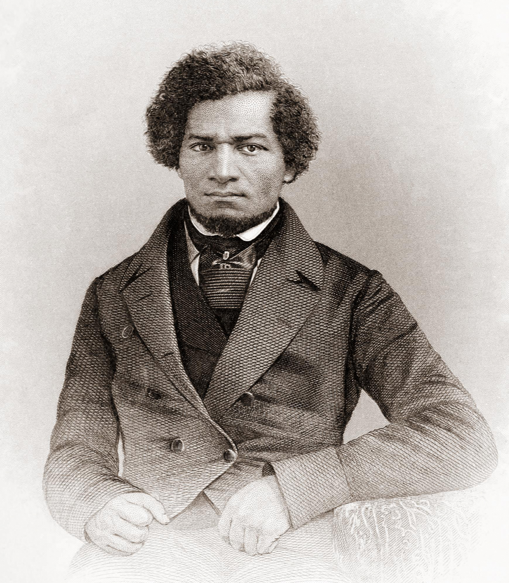 Daguerretotype of Frederick Douglass, dressed in tie and overcoat of the period.