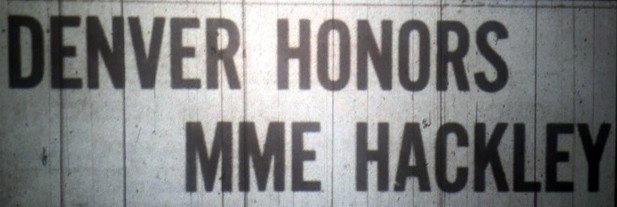 Microfilm image of Statesman headline, June 6, 1908, which reads: Denver Honors MME Hackley