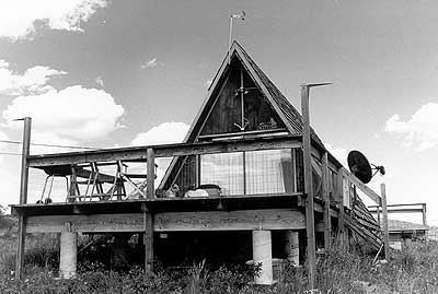 black and white photo of an A-Frame in Cripple Creek.