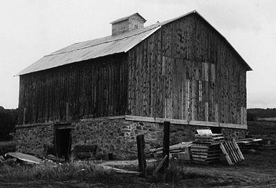 View of a bank barn showing the downhill side.