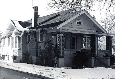 Black and white photo of a Denver Bungalow.