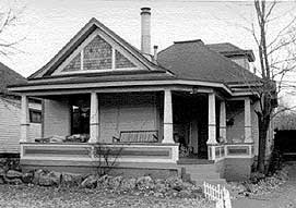 A black-and-white image showing an example of an Edwardian style house in Boulder.