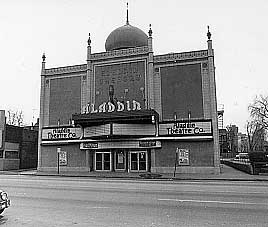 Black and white photo of the Aladdin theater (5DV.718) in Denver.