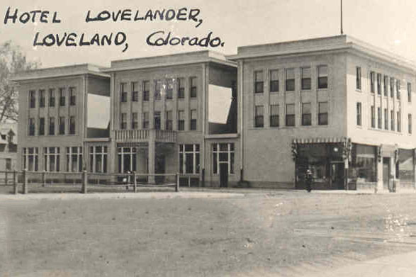 The Lovelander Hotel circa 1920 in black and white.