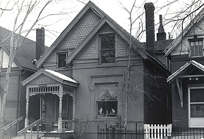 Black and white photograph of Queen Anne style house