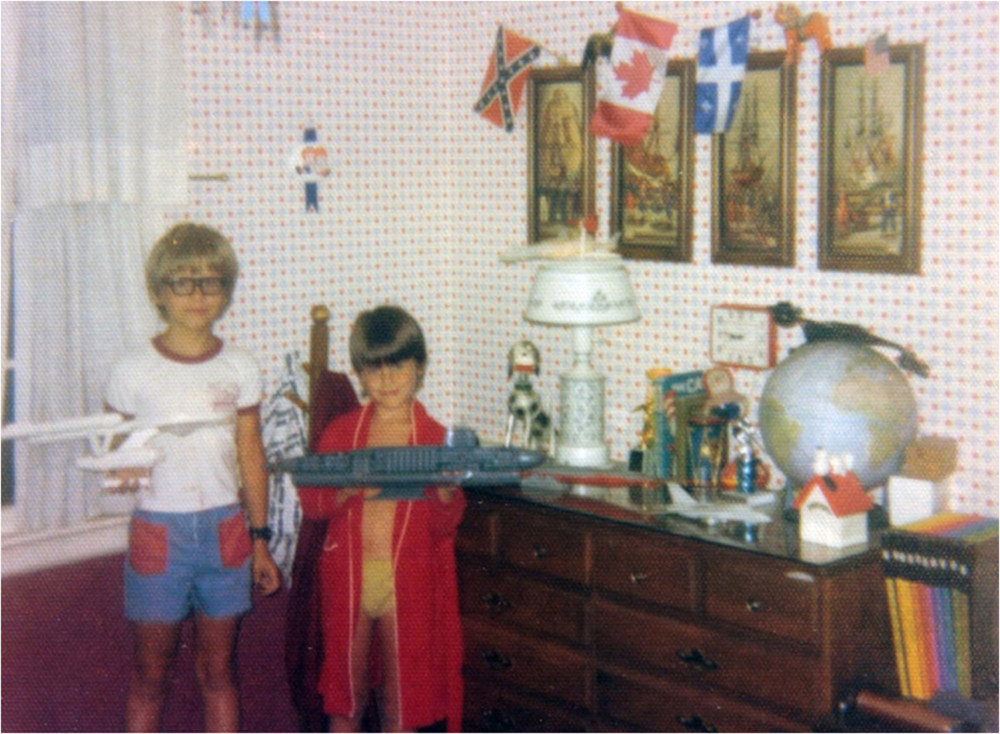 The author and his brother with their scale model collection around 1972