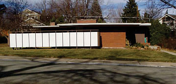 Color photo of a Usonian style house.