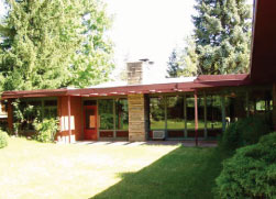 Color photo of a Usonian style home.