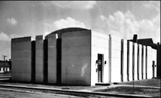 Black and white photo of a WPA Modernist building