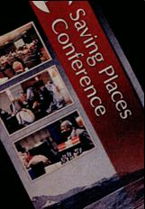 An image of the Saving Places Conference brochure. There is a vertical red band with the title to the right of three separate images resembling the conference.