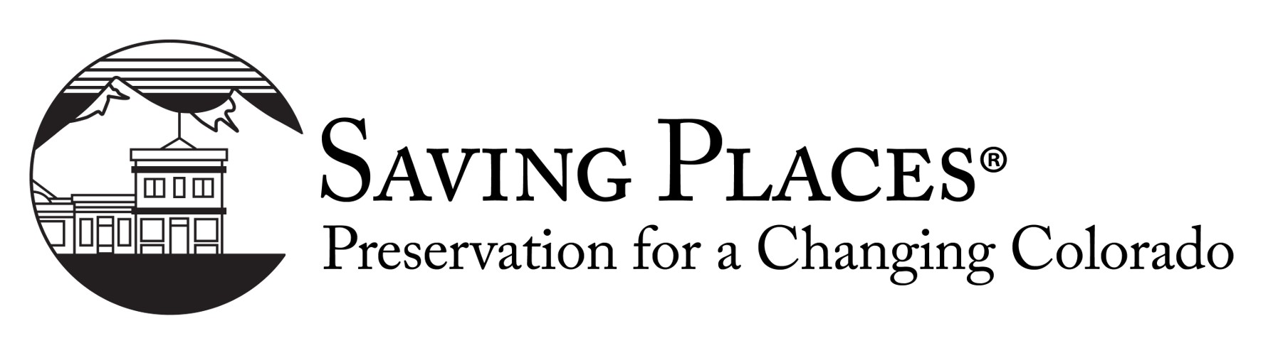 Savings Places Conference logo that includes a small black and white image of a building in front of a mountain