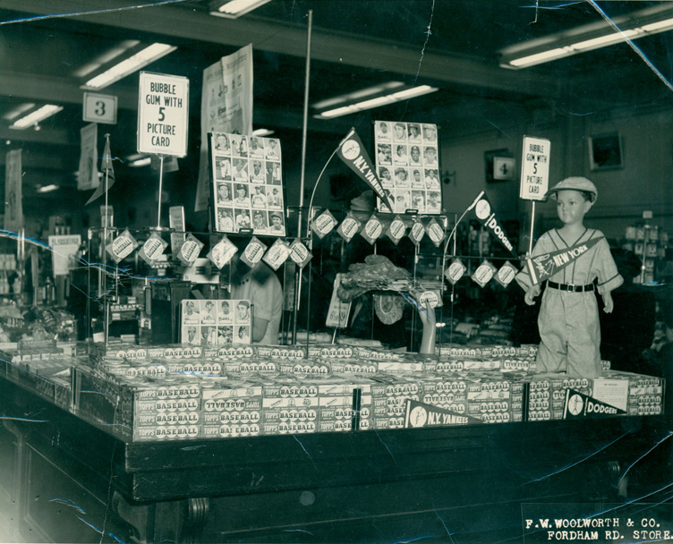 Display of Topps baseball cards at Woolworth's in 1952