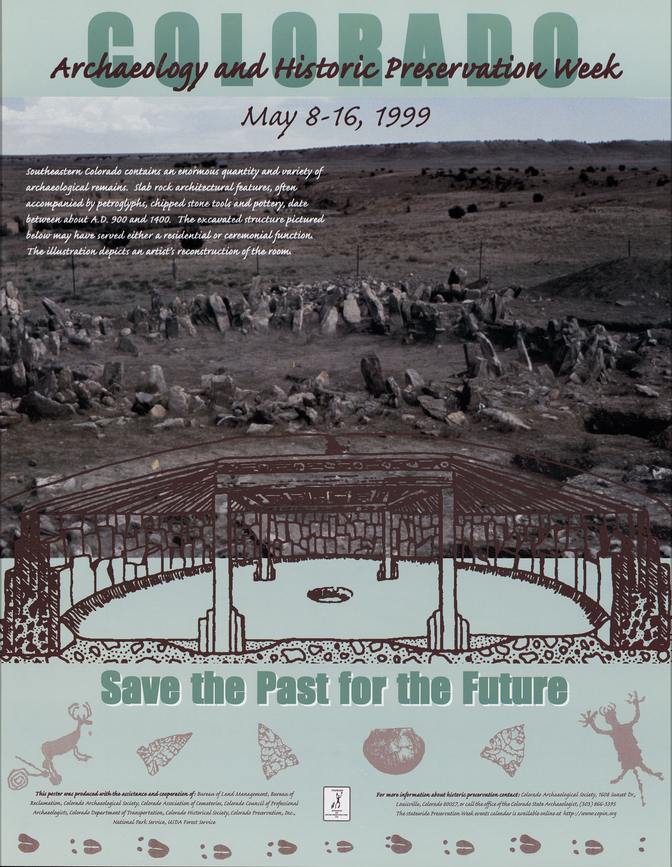 1999 Archaeology & Historic Preservation Week poster.