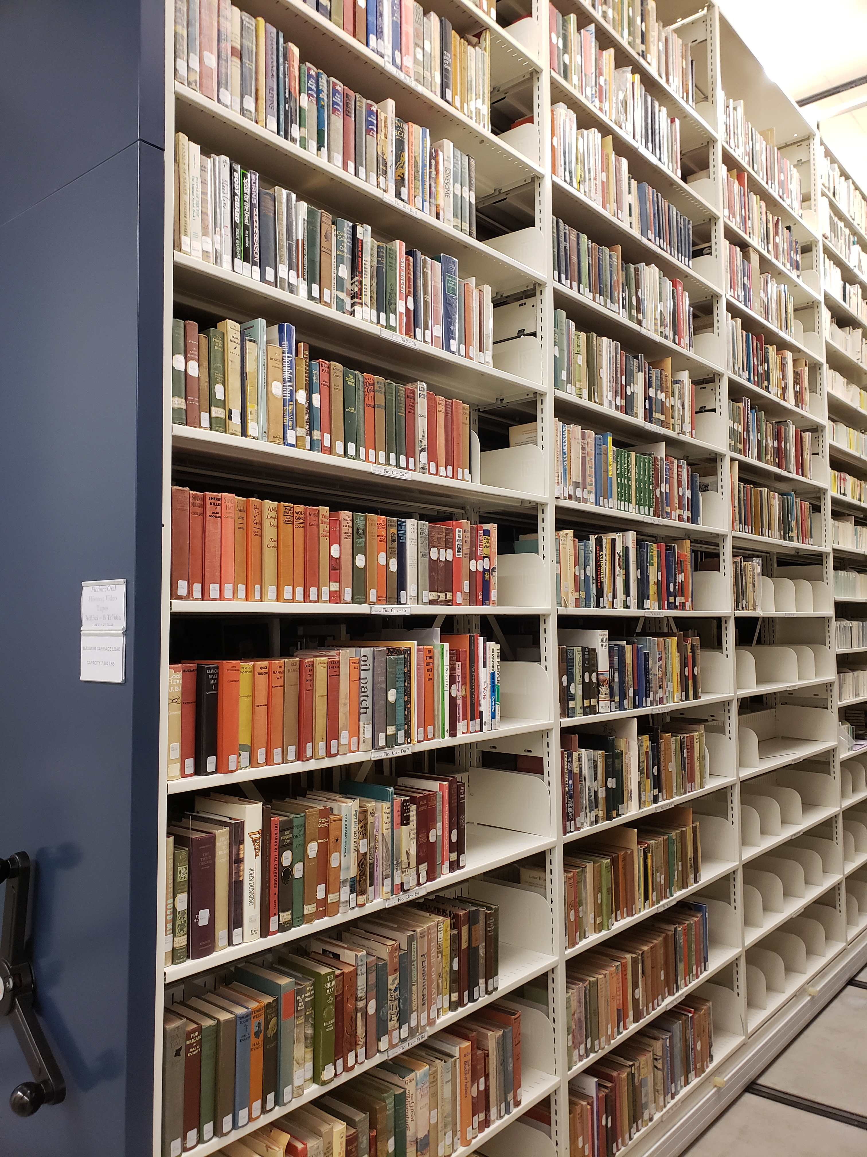 Fiction shelves in library storage