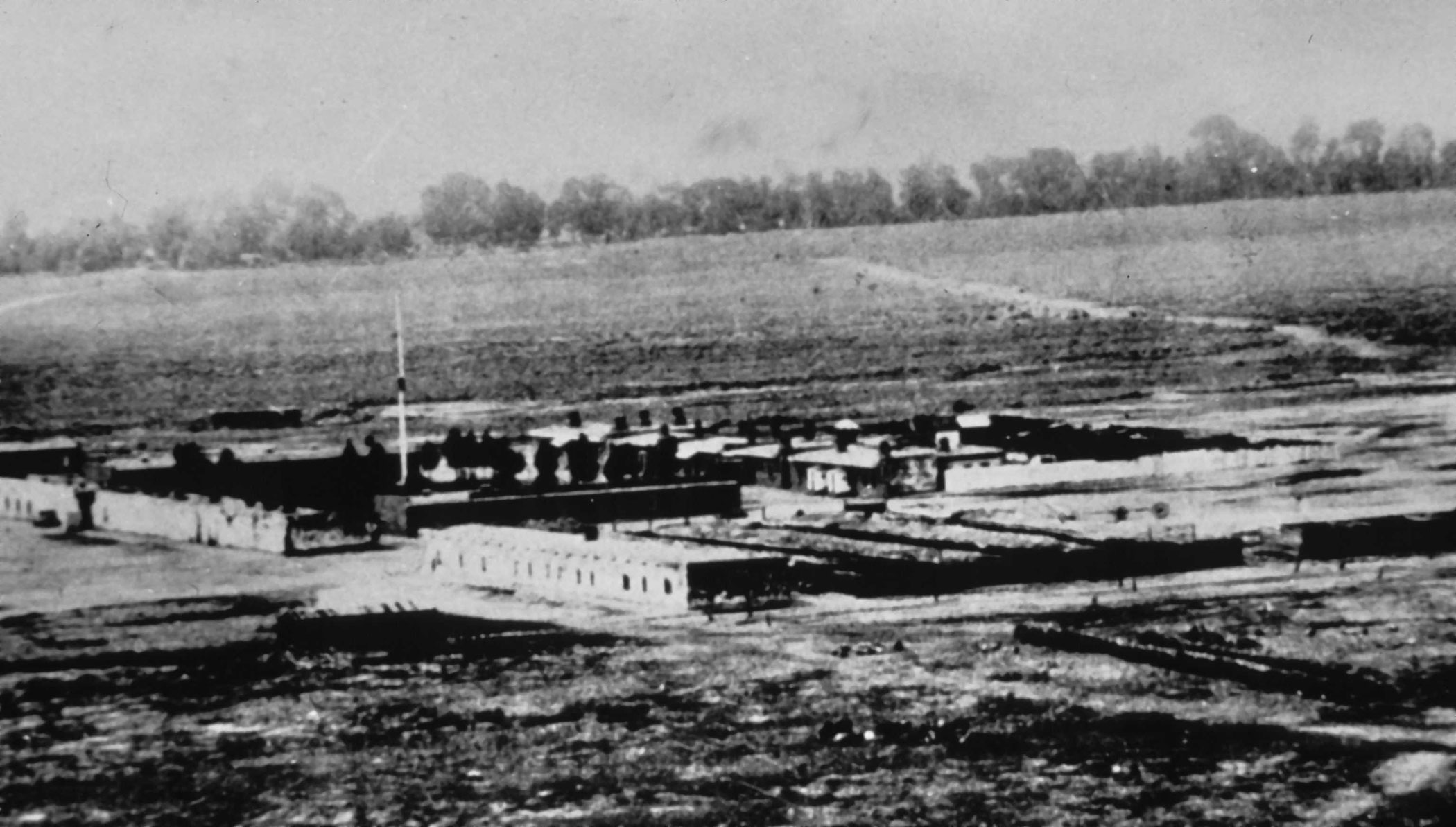 Historic photo of Fort Garland in 1872.
