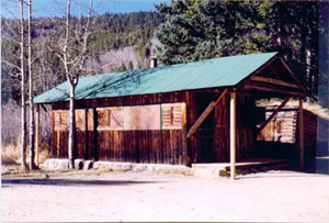 A picture of a building with overhanging green gabled roof and log walls.