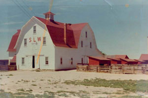 A picture of the barn with white walls and gambrel red roof with red pitched roof coups on the right.