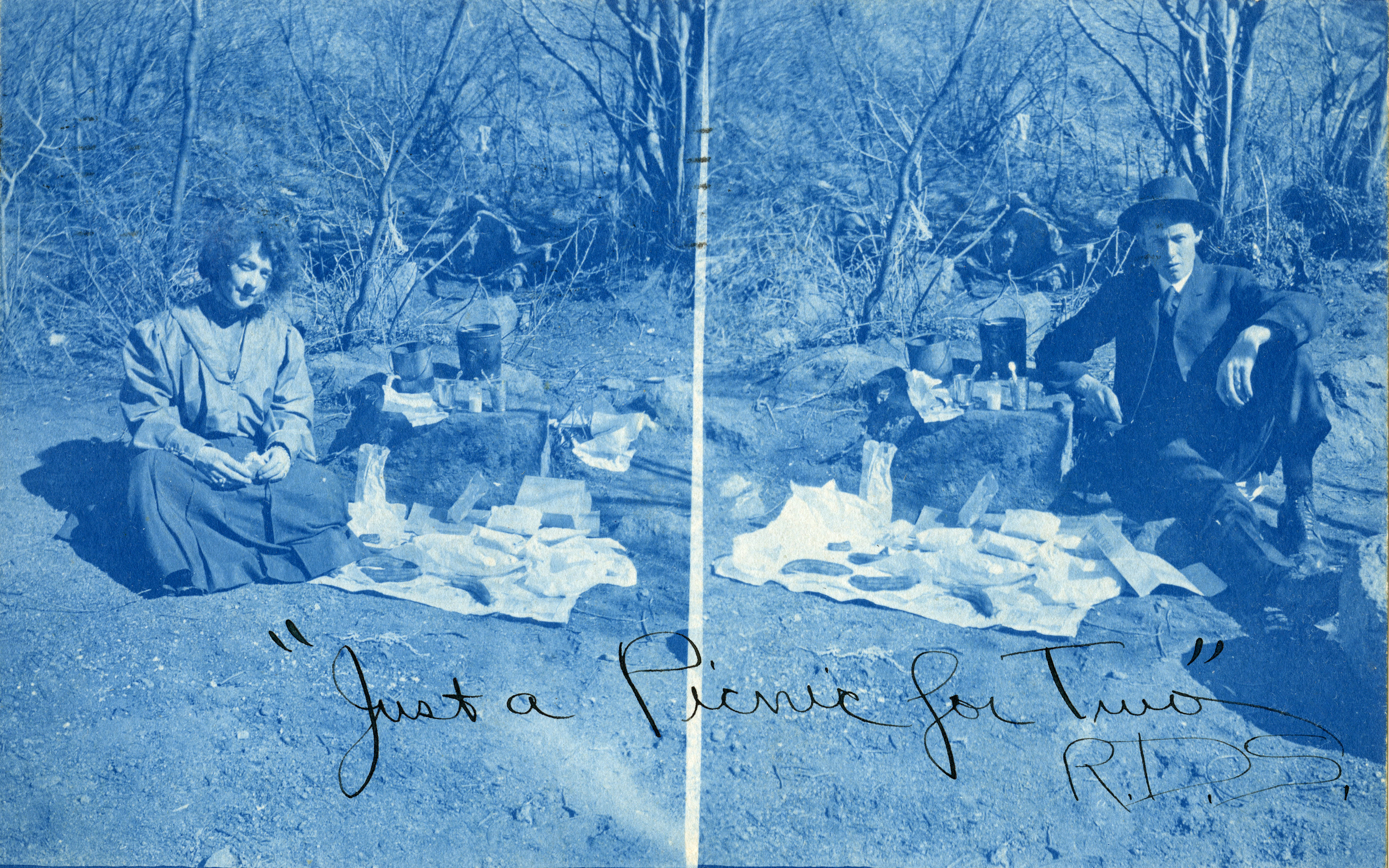 """Just a Picnic for Two"" photo postmarked May 26, 1907."