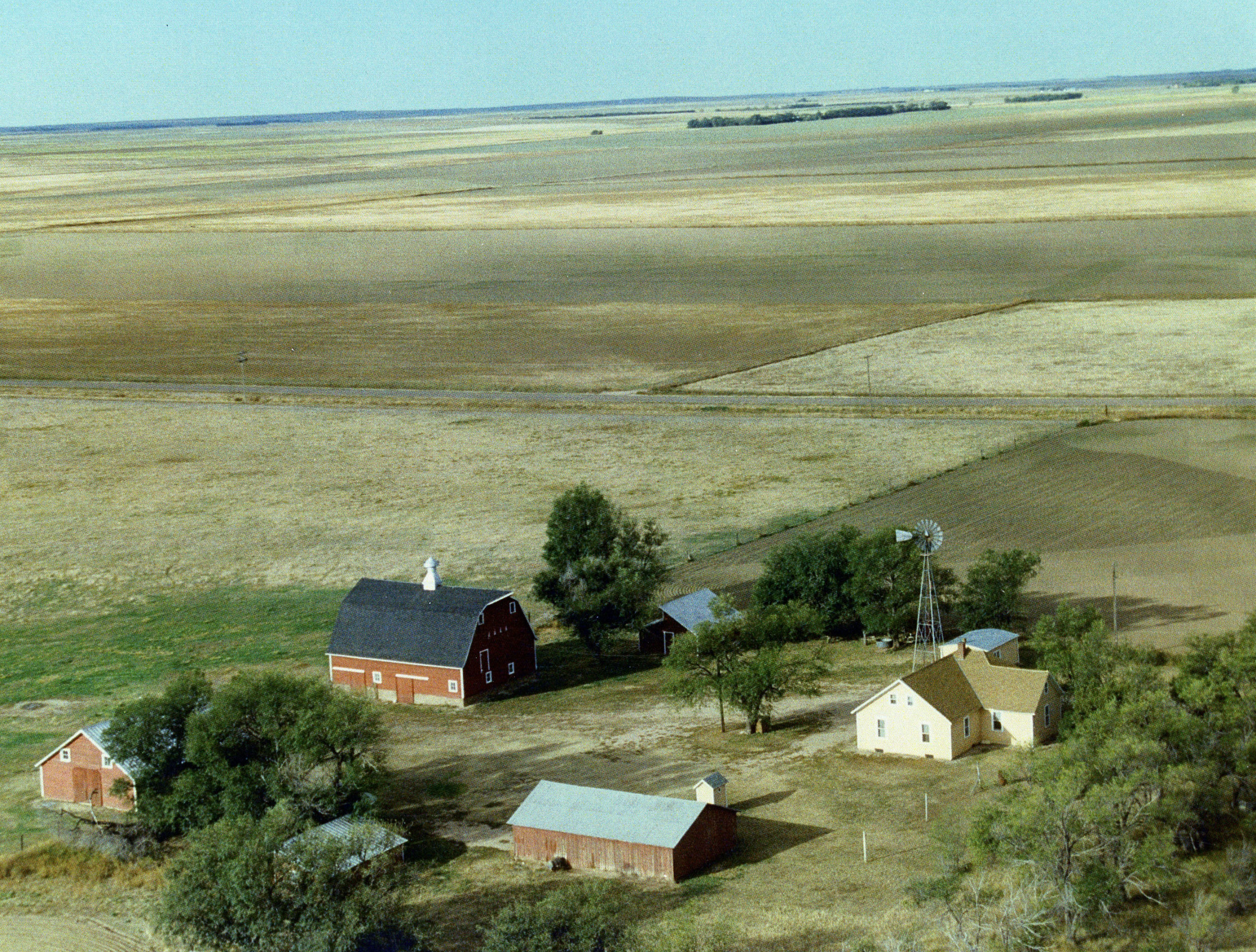 Aerial view of the Brekel Farm south of Fleming in the mid 1980s.