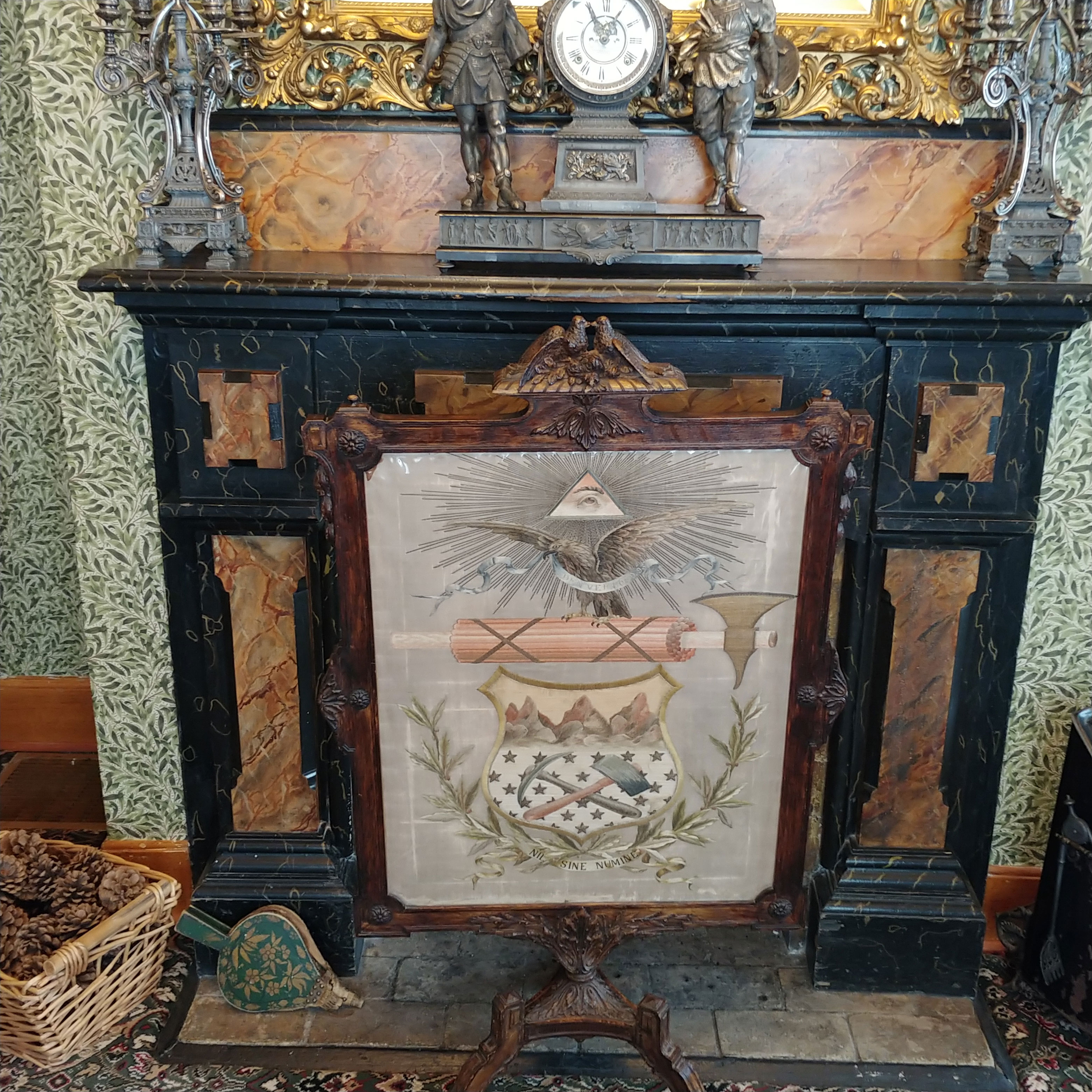Needlepoint and fireplace at Healy House