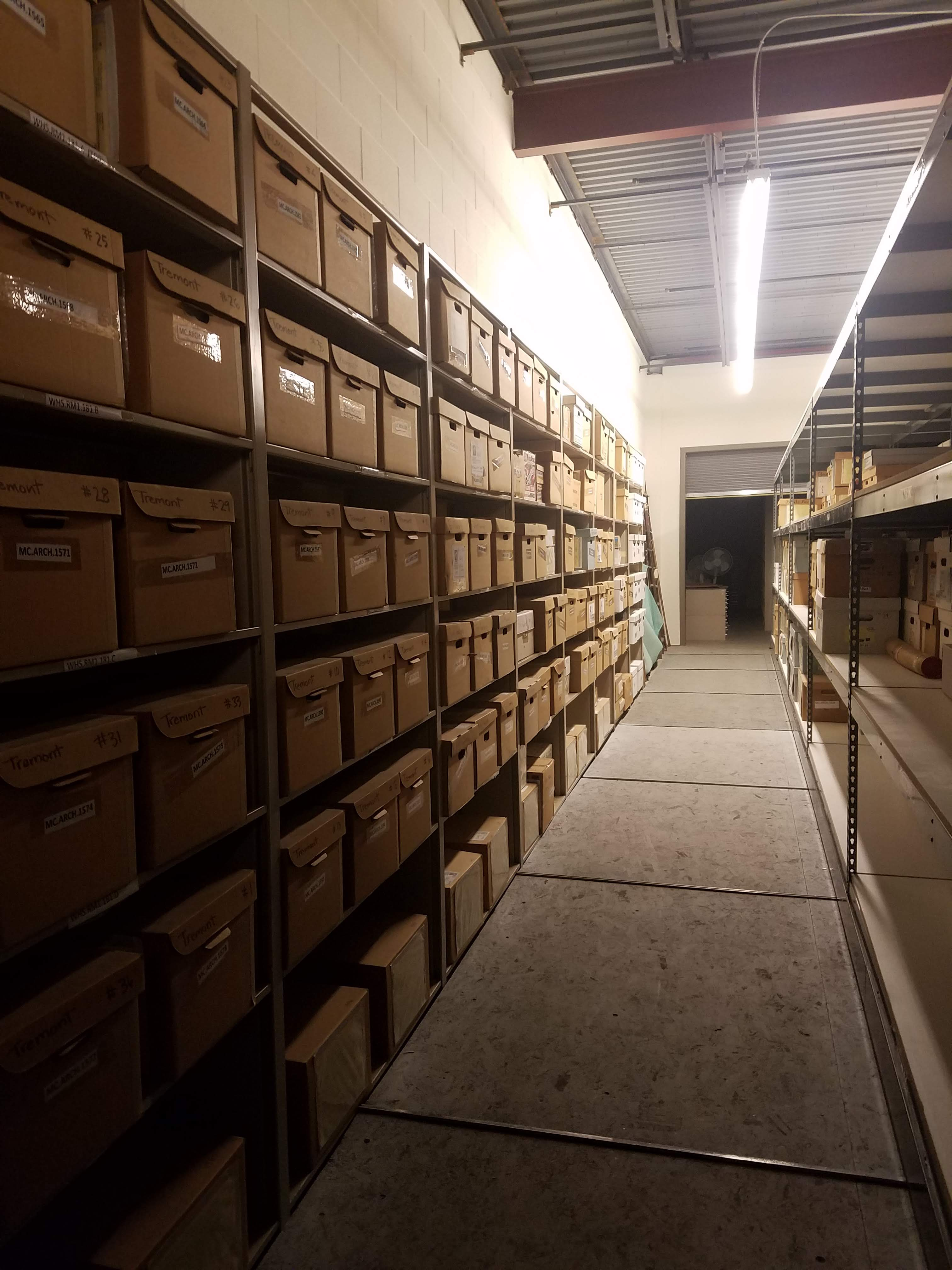 Archaeology boxes in warehouse