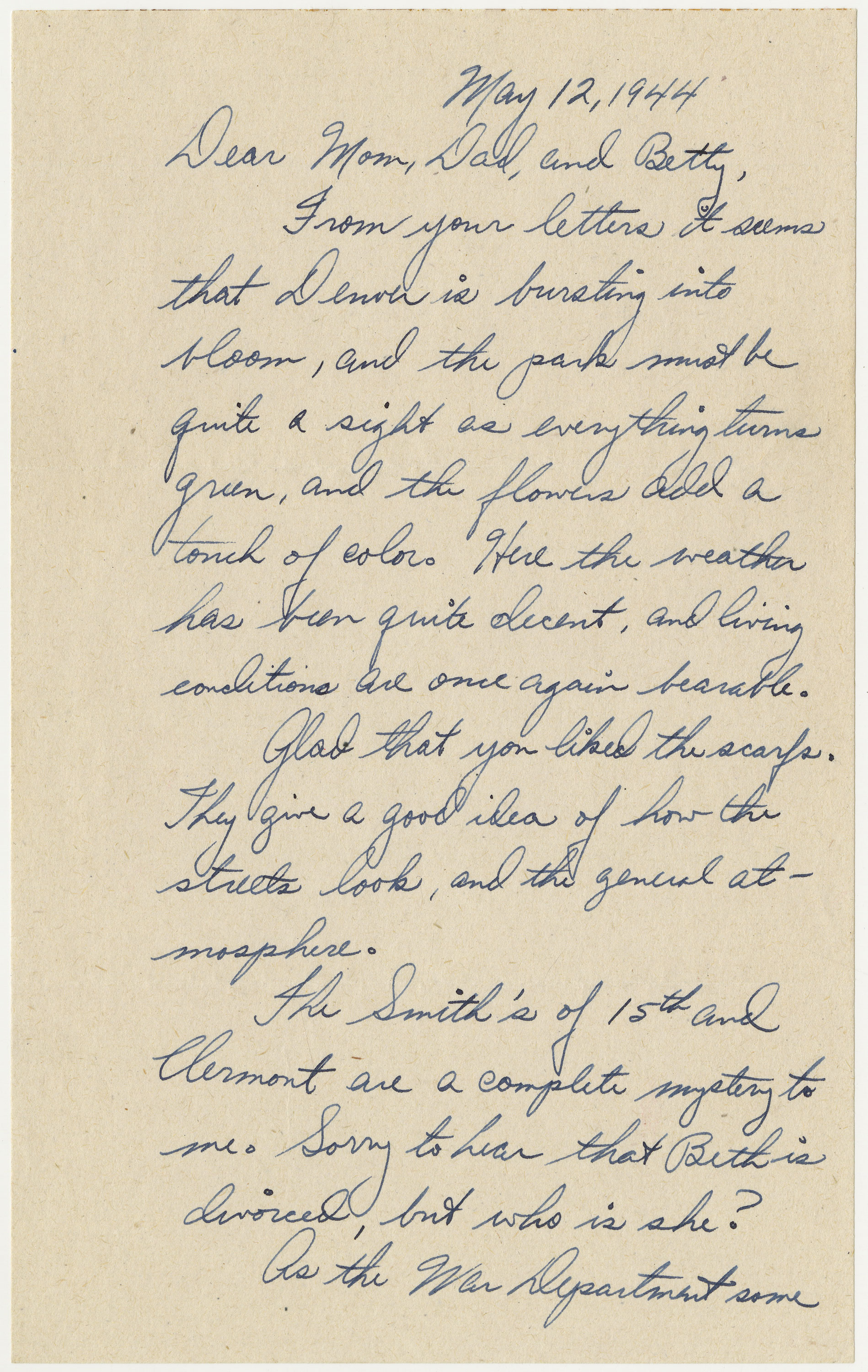 page 1 of letter written by Bischoff on May 12, 1944