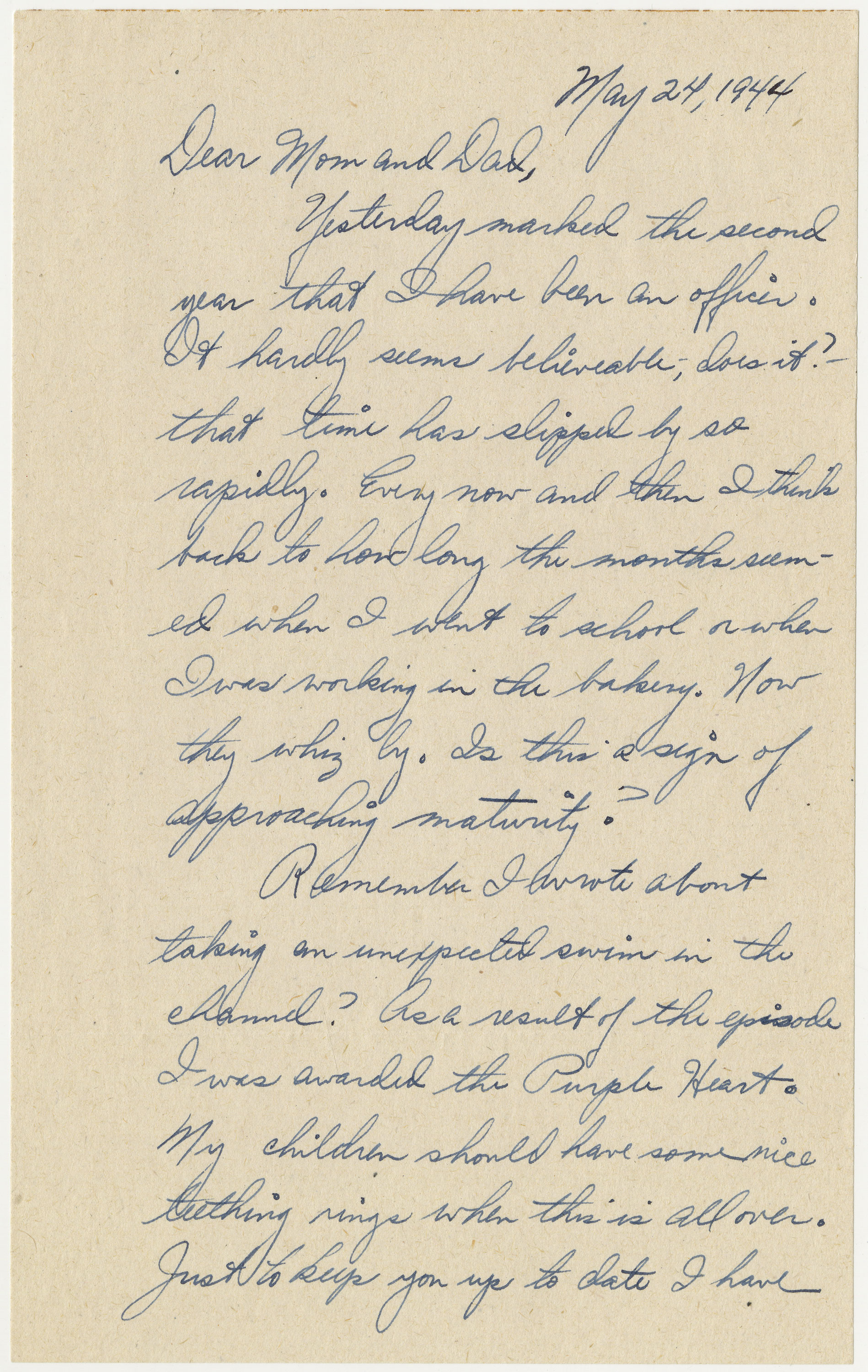 page 1 of letter written by Bischoff on May 24, 1944