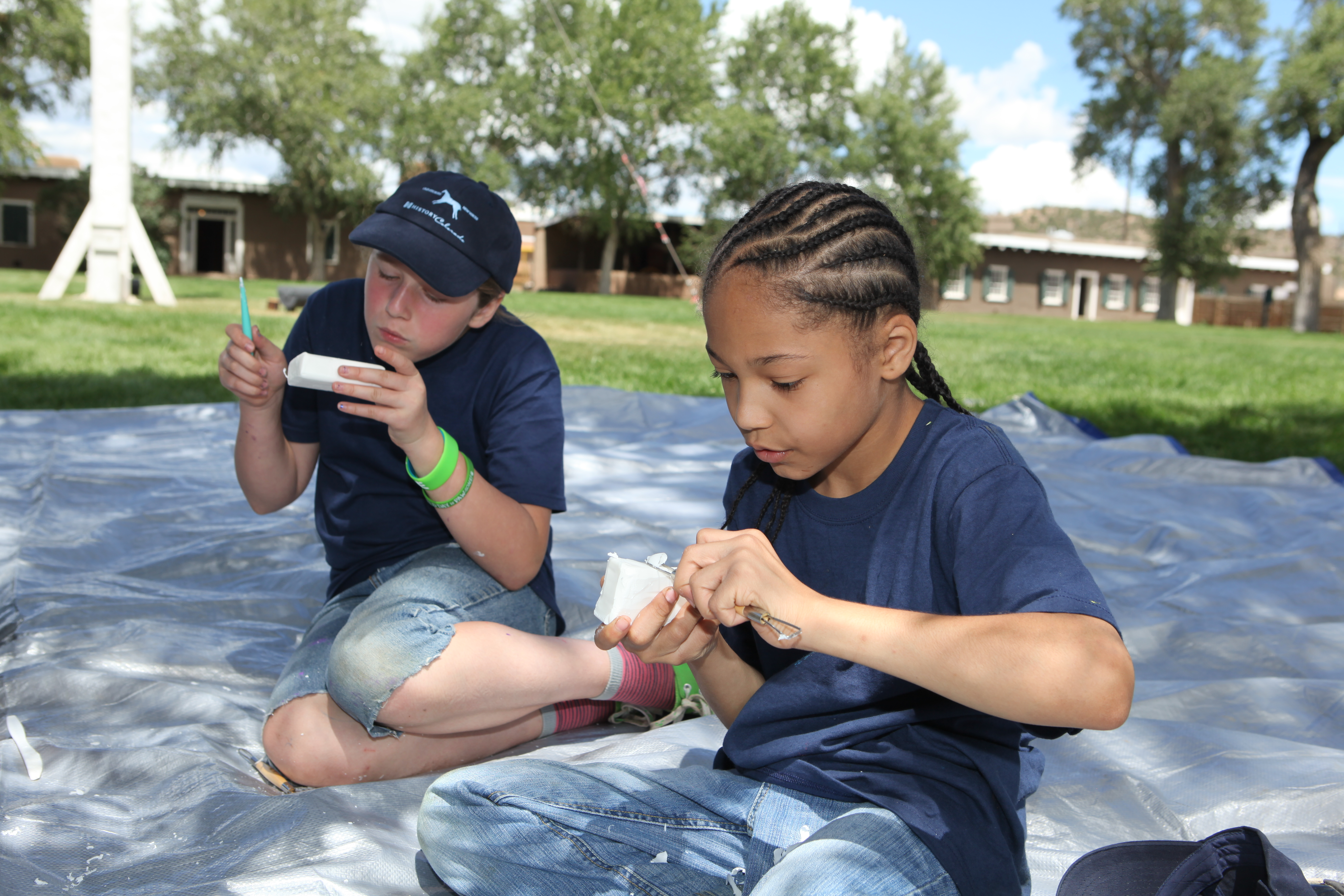 Kids soap carving at Fort Garland