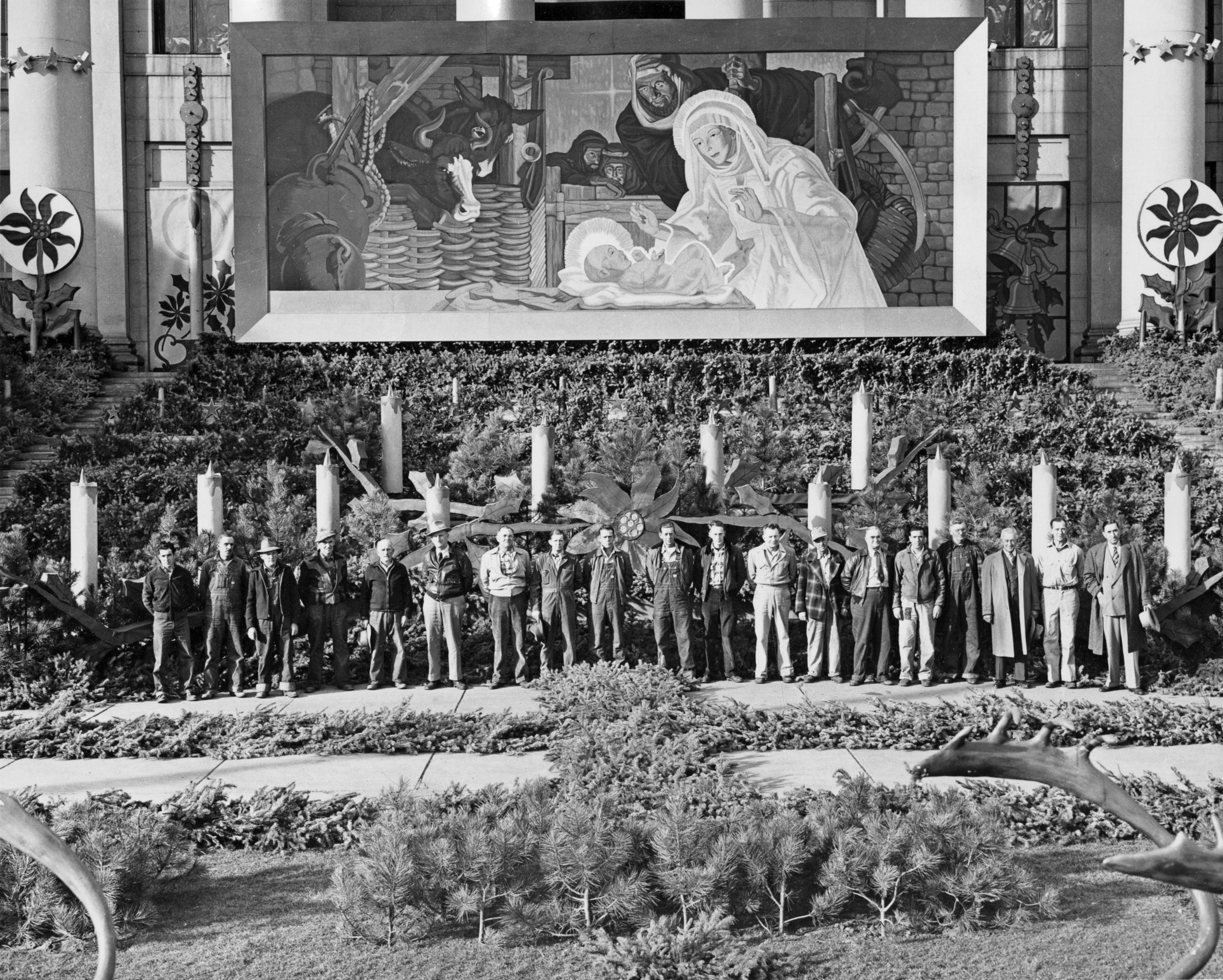 Malpiede in front of Denver City and County building with Christmas decorations 1945