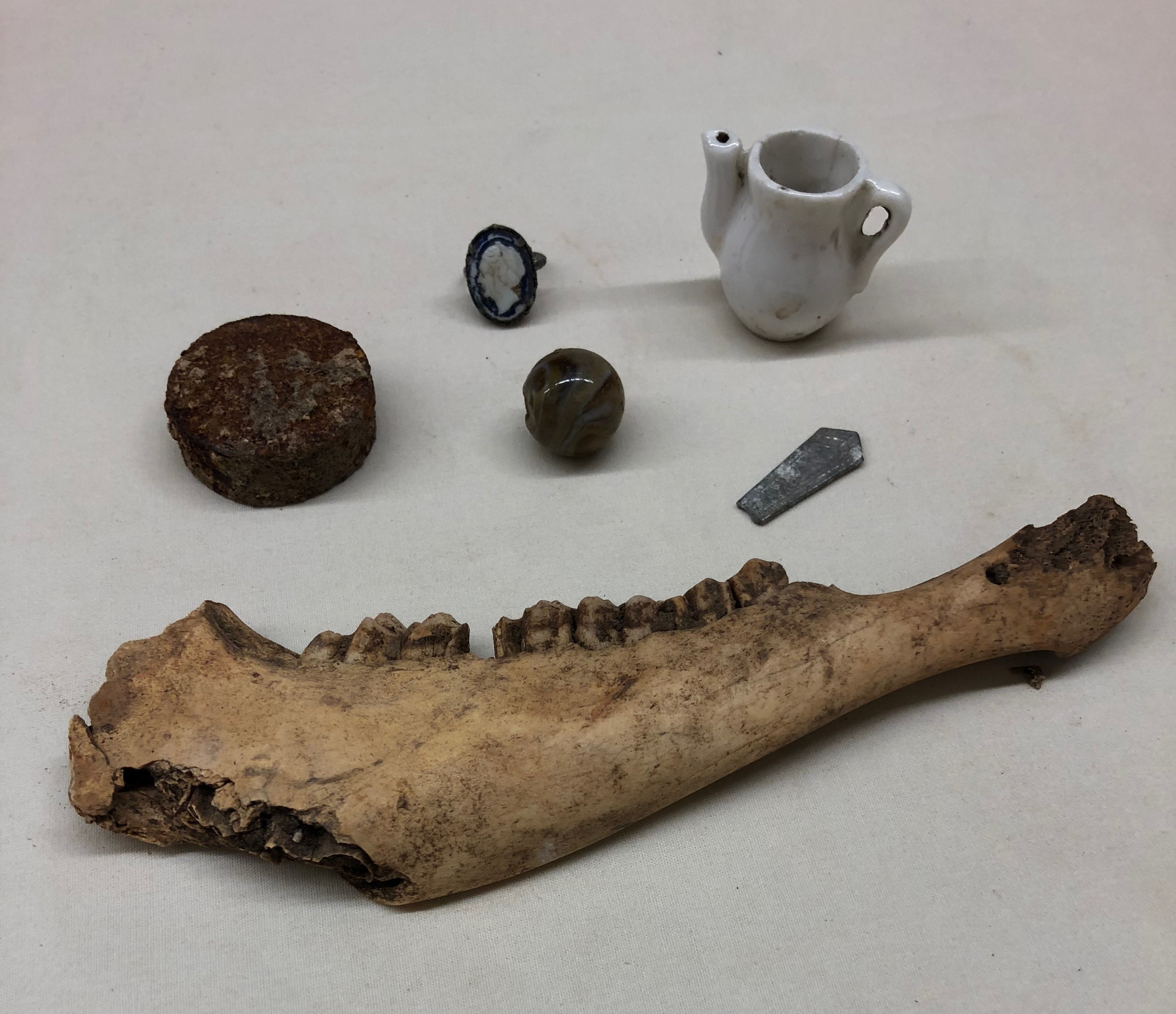 Archaeological items including jaw bone, ceramic pitcher, glass marble and more
