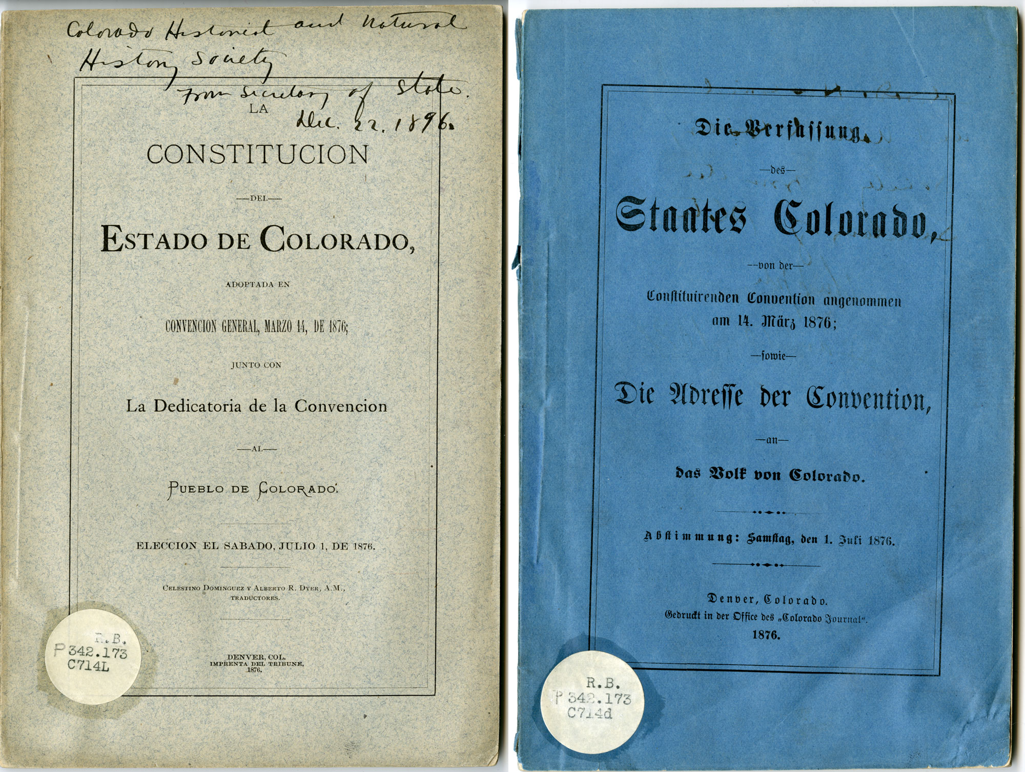 Covers of Spanish and German versions of Colorado Constitution