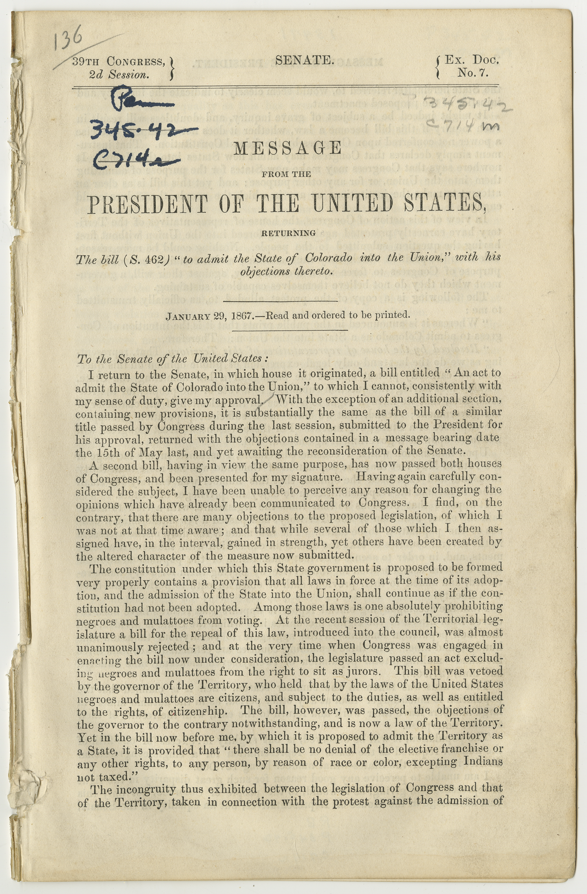 Copy of message from the President 1867