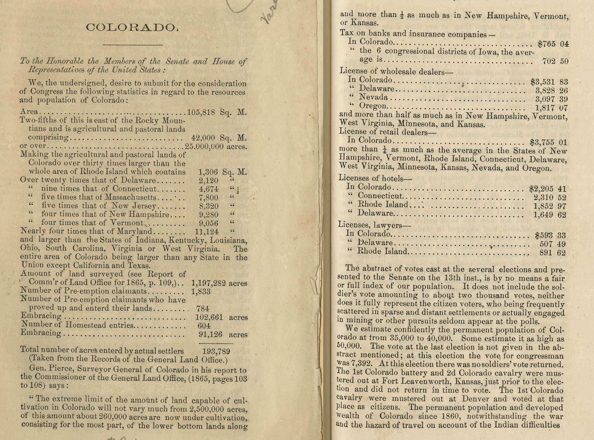 Copies of pages of Colorado statistics 1865