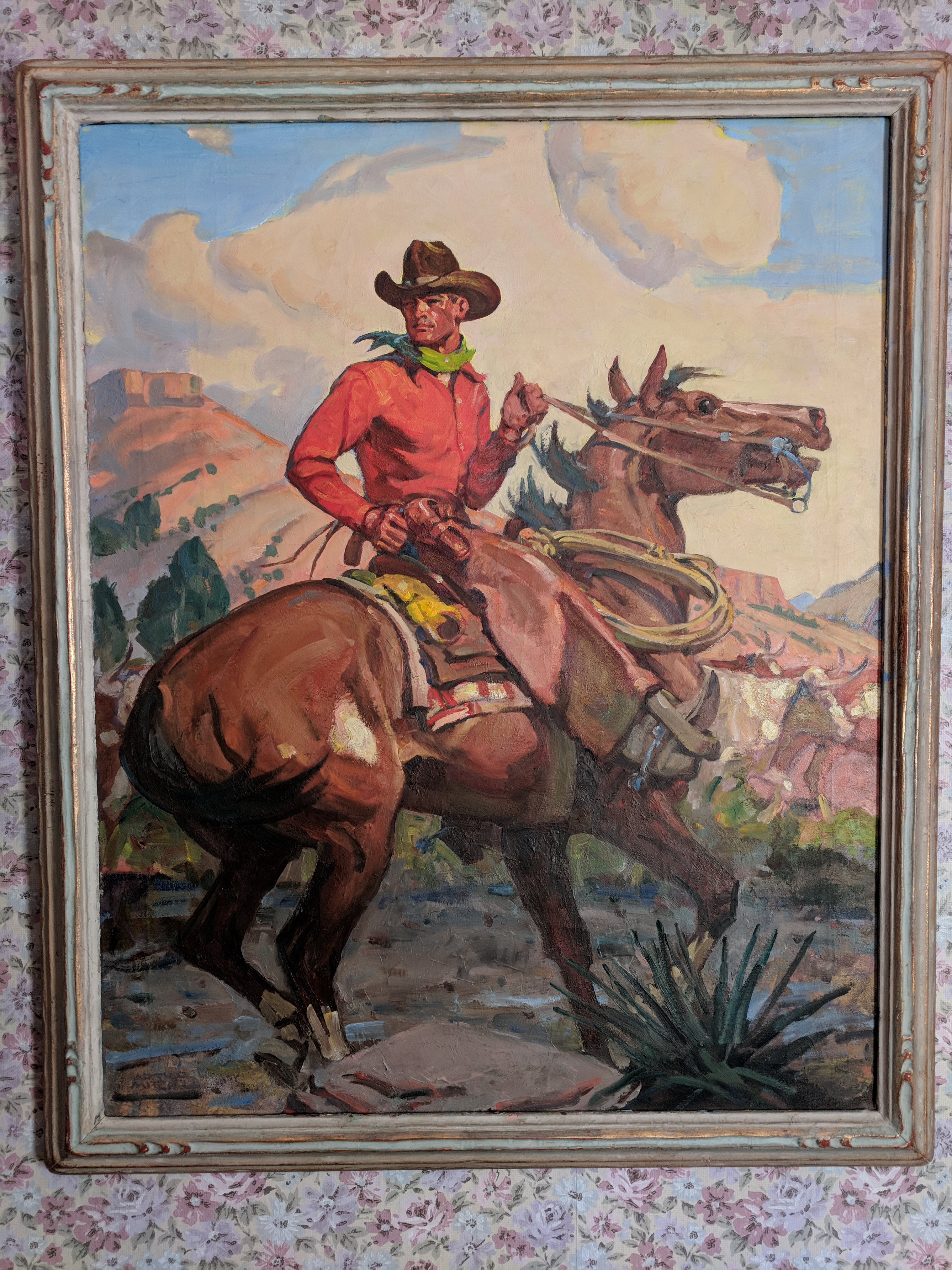 painting of man riding horse