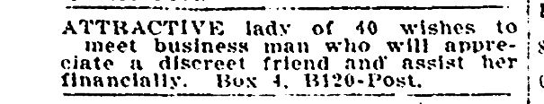 Dating ad from 1909