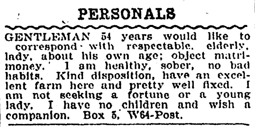 Dating newspaper ad from 1909