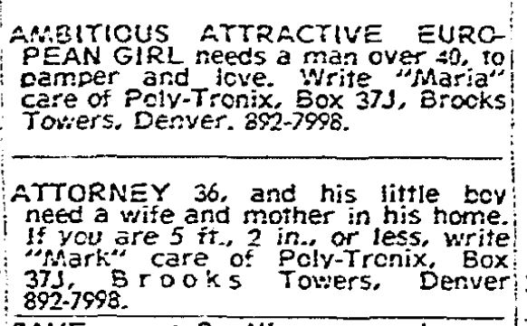 dating ads in 1970 newspaper