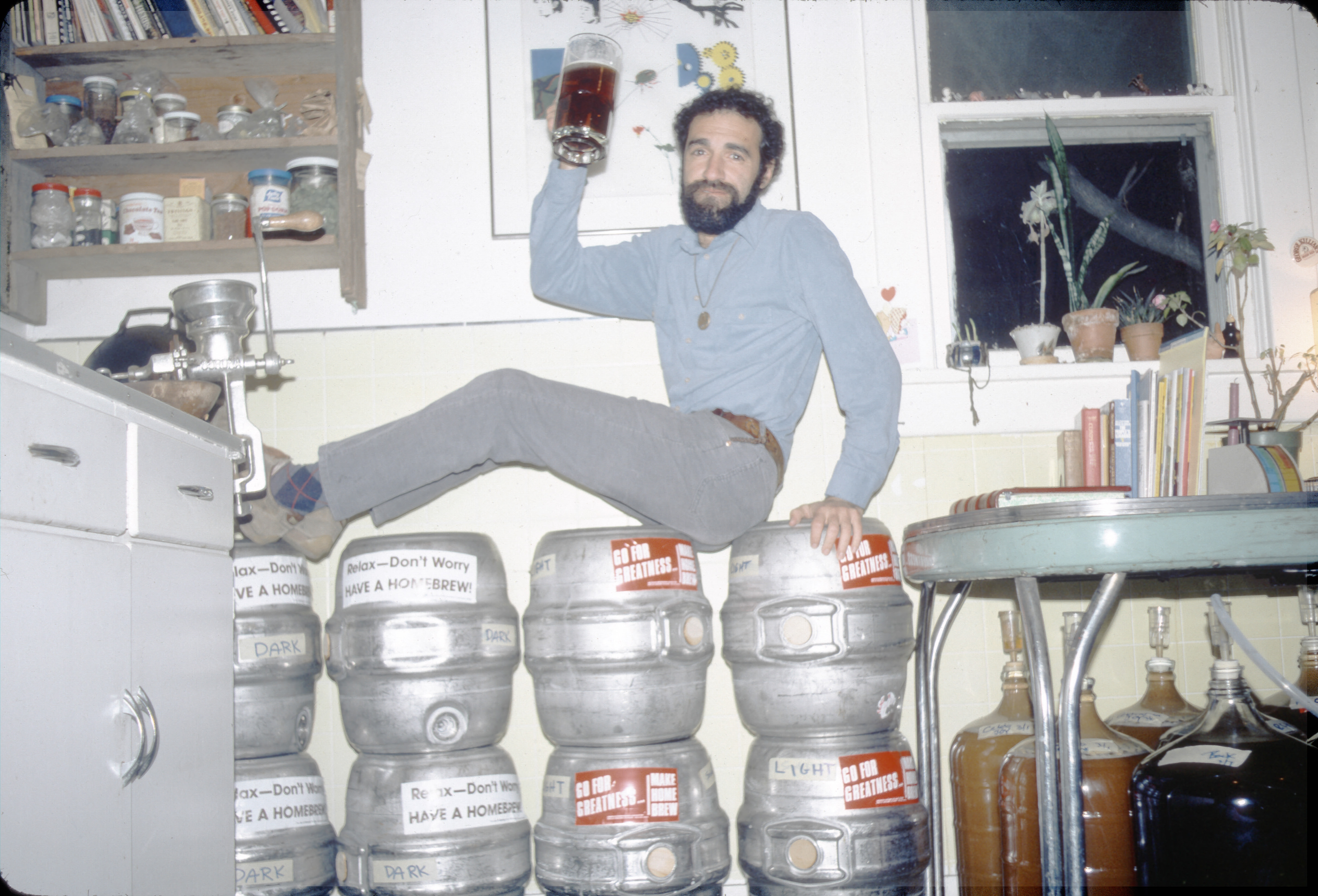 Charlie Papazian brewing