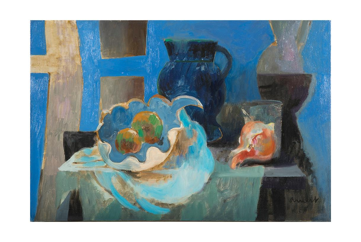 Blue Bowl, oil on canvas, 1957