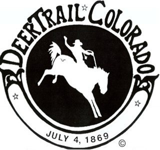 Deer Trail Rodeo logo showing a rider on a bucking bronco and the date of July 4, 1869.