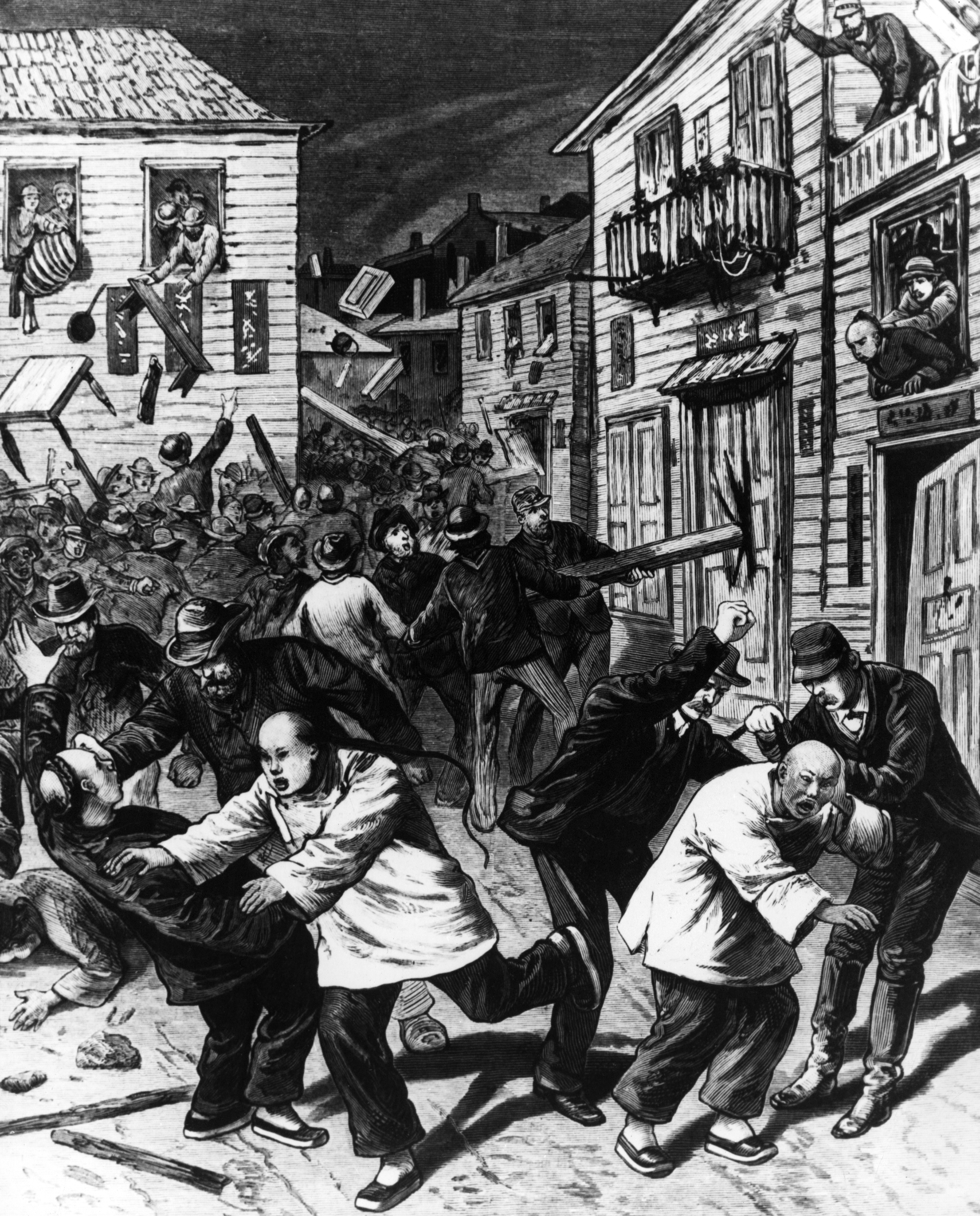 1880 illustration of anti-chinese riot in Denver