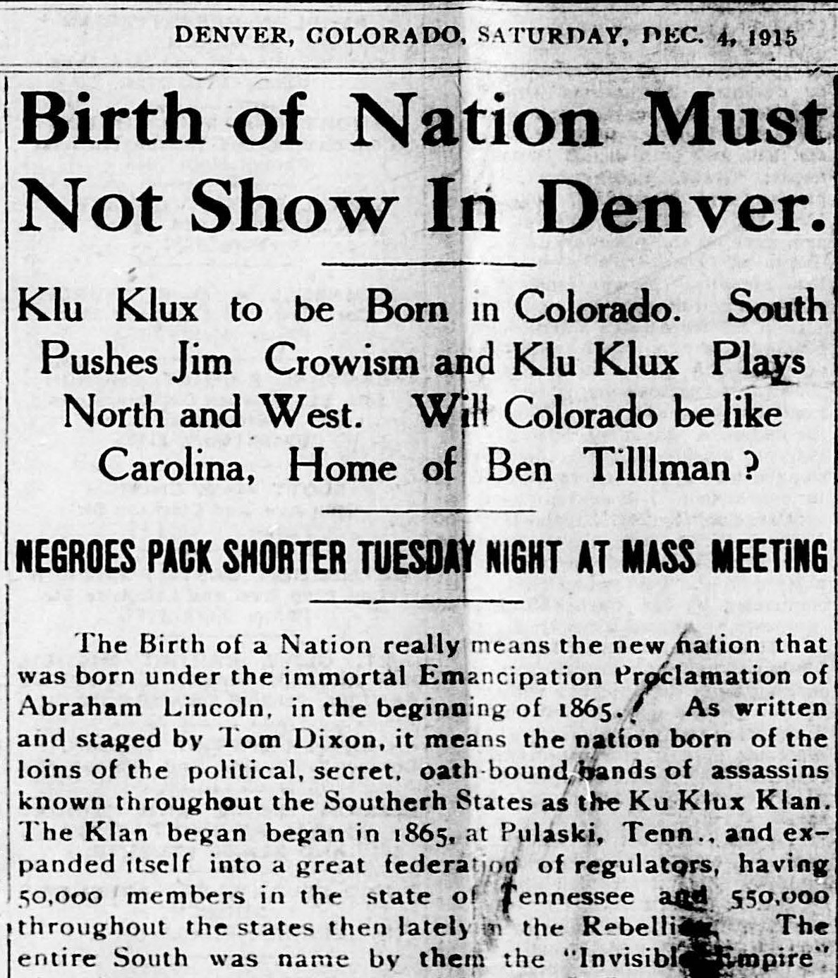 news clipping about Birth of a Nation from Denver Star