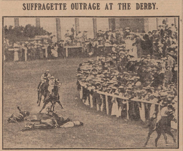 newspaper clipping reads suffrage outrage at the derby