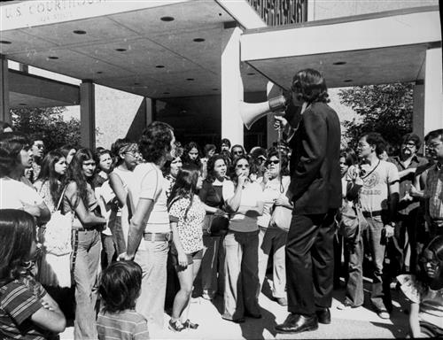 Federico Pena addressing UMAS students at protest