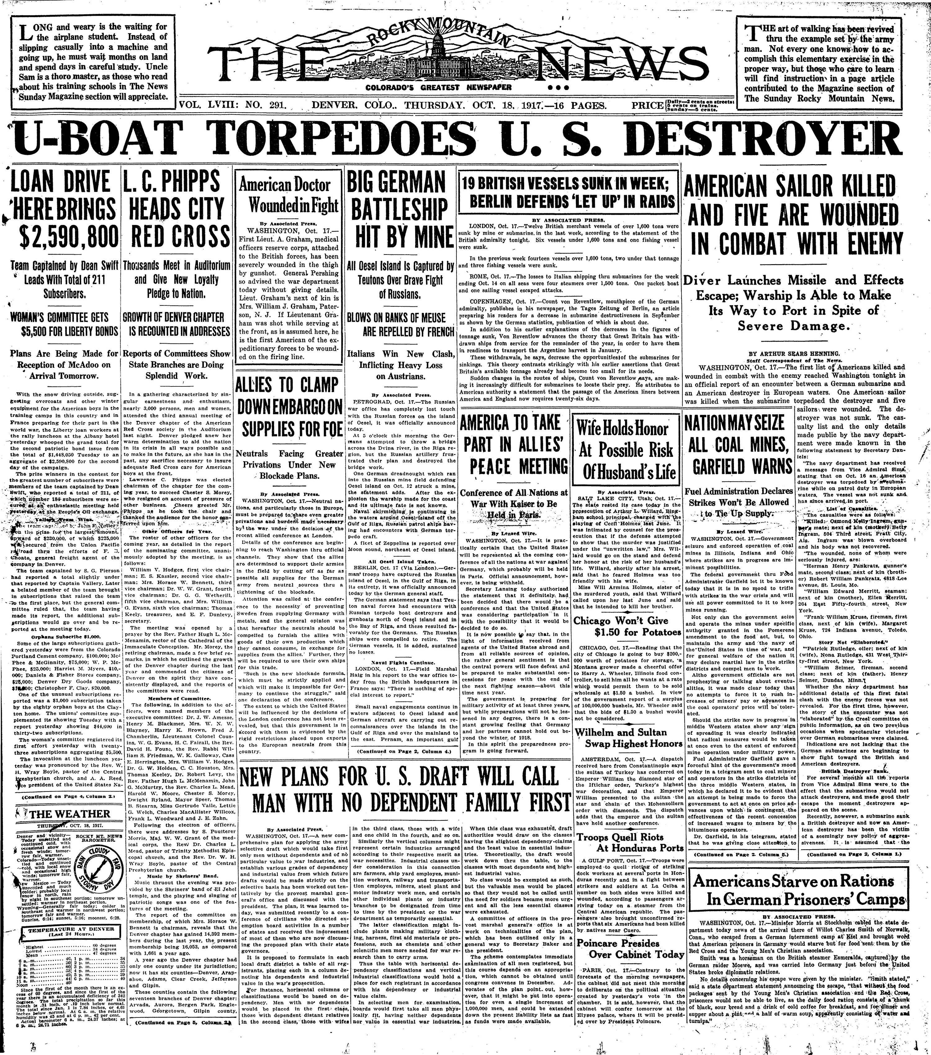 Rocky Mountain News October 18, 1917