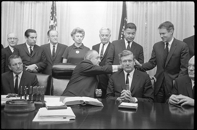 1967, President Lyndon B. Johnson with some members of the National Advisory Commission on Civil Disorders (Kerner Commission) in the Cabinet Room of the White House, Washington, D.C.